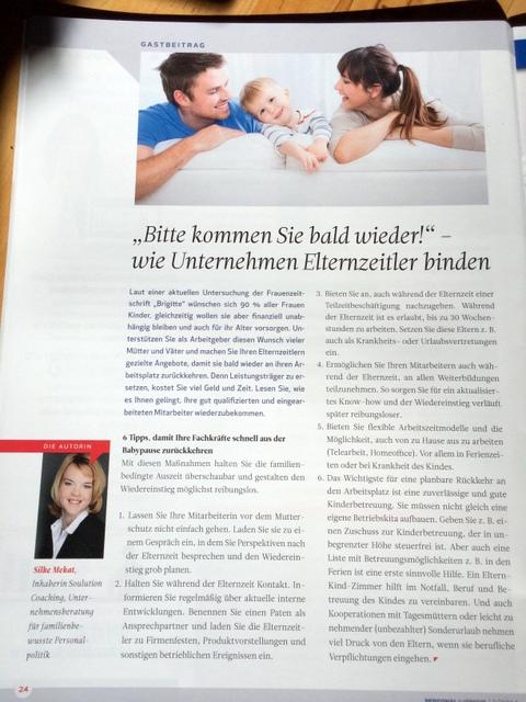Soulution Coaching Silke Mekat Unternehmensberatung für familienbewusste Personalpolitik Personal im Fokus Elternzeit Wiedereinstieg